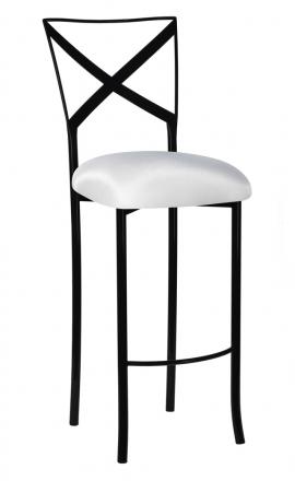 Blak. Barstool with White Stretch Knit Cushion (2)