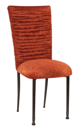 Chloe Paprika Crushed Velvet Chair Cover and Cushion on Mahogany Legs (2)