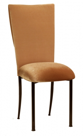 Gold Velvet Cowl Neck Chair Cover and Cushion on Brown Legs (2)