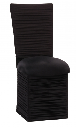 Chloe Black Stretch Knit Chair Cover with Rhinestone Accent Band, Cushion and Skirt (2)