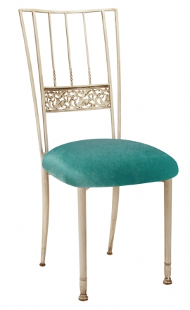 Ivory Bella Fleur with Turquoise Velvet Cushion (2)