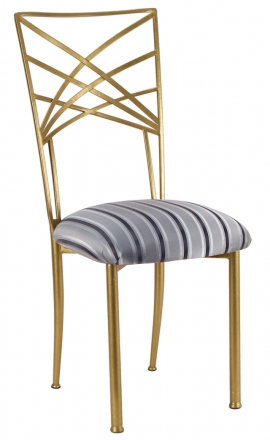 Gold Fanfare with Charcoal Stripe Cushion (2)