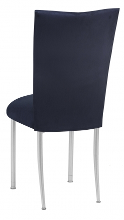 Navy Suede Chair Cover and Cushion on Silver Legs (1)
