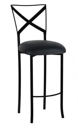 Blak. Barstool with Black Leatherette Cushion (2)