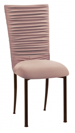 Chloe Blush Stretch Knit Chair Cover with Jewel Band and Cushion on Brown Legs (2)