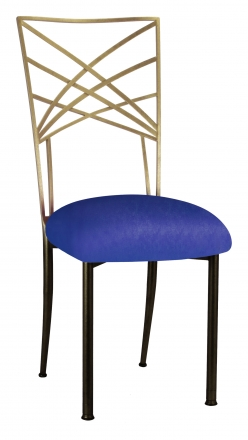 Two Tone Gold Fanfare with Royal Blue Stretch Knit Cushion (2)