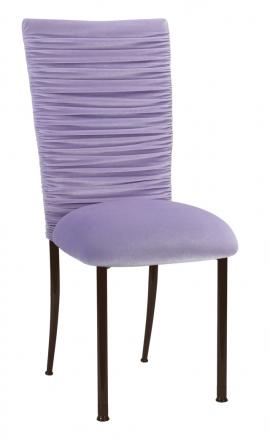 Chloe Lavender Velvet Chair Cover and Cushion on Brown Legs (2)