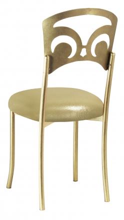 Gold Fleur de Lis with Metallic Gold Stretch Knit Cushion (1)