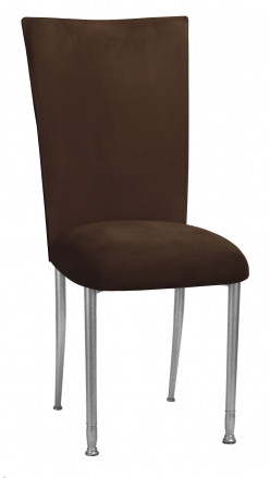 Chocolate Suede Chair Cover, Jewel Belt and Cushion on Silver Legs (2)