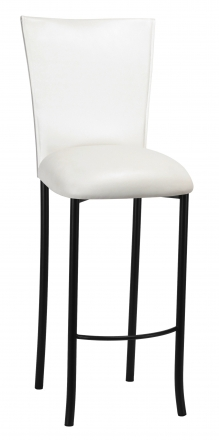 White Leatherette Barstool Cover and Cushion on Black Legs (2)