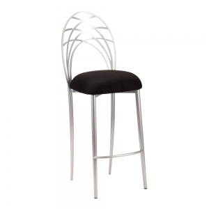 Silver Piazza Barstool with Black Suede Cushion (2)