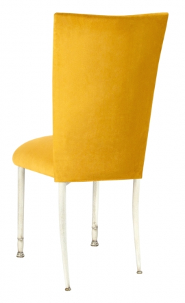 Canary Suede Chair Cover and Cushion on Ivory Legs (1)