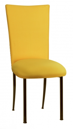 Chloe Bright Yellow Stretch Knit Chair Cover and Cushion on Brown Legs (2)