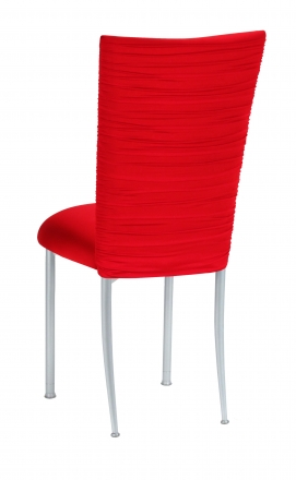 Chloe Million Dollar Red Stretch Knit Chair Cover and Cushion on Silver Legs (1)