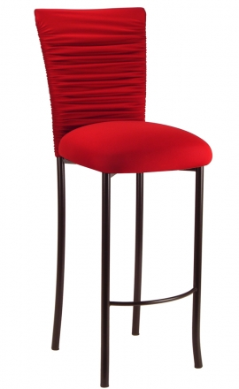 Chloe Red Stretch Knit Barstool Cover and Cushion on Brown Legs (2)
