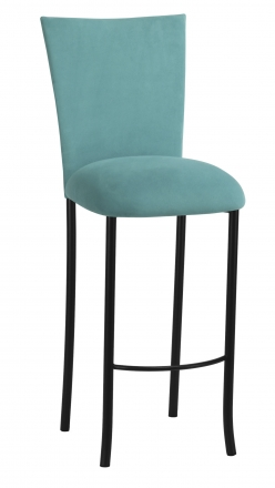 Turquoise Suede Barstool Cover and Cushion on Black Legs (2)