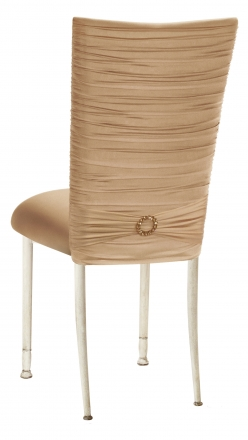 Chloe Beige Stretch Knit Chair Cover with Jewel Band and Cushion on Ivory Legs (1)