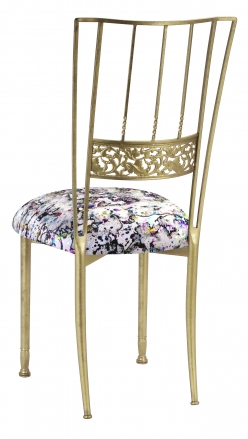 Gold Bella Fleur with White Paint Splatter Knit Cushion (1)