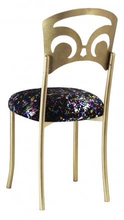 Gold Fleur de Lis with Black Paint Splatter Stretch Knit Cushion (1)