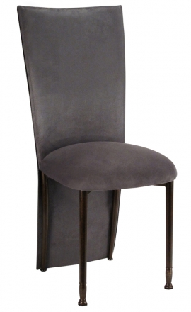 Charcoal Suede Jacket and Cushion on Mahogany Legs (2)