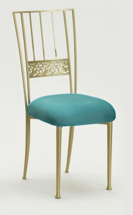 Gold Bella Fleur with Turquoise Suede Cushion (2)