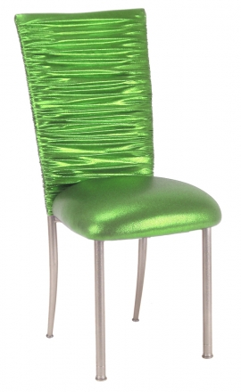 Chloe Metallic Lime Stretch Knit Chair Cover and Cushion on Silver Legs (2)