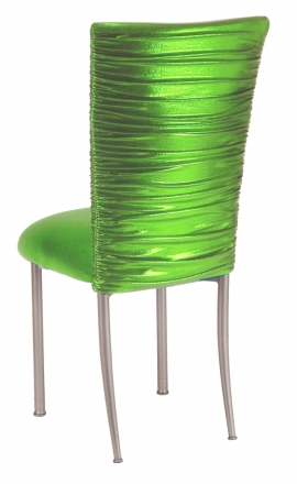 Chloe Metallic Lime Stretch Knit Chair Cover and Cushion on Silver Legs (1)