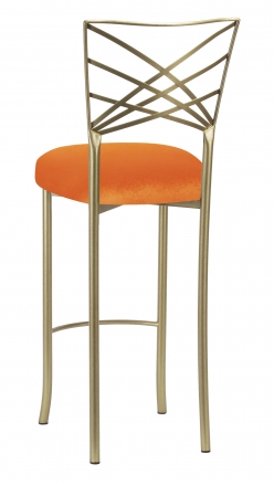 Gold Fanfare Barstool with Orange Velvet Cushion (1)