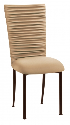 Chloe Beige Stretch Knit Chair Cover and Cushion on Brown Legs (2)