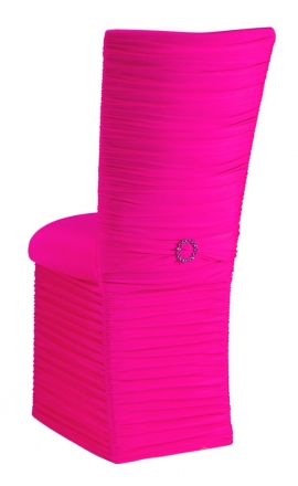 Chloe Hot Pink Stretch Knit Chair Cover with Jewel Band, Cushion and Skirt (1)