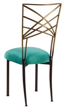 Two Tone Gold Fanfare with Turquoise Velvet Cushion (1)