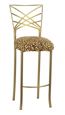 Gold Fanfare Barstool with Leopard Boxed Cushion (2)