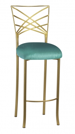 Gold Fanfare Barstool with Turquoise Velvet Cushion (2)