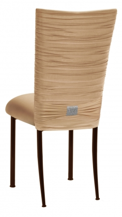 Chloe Beige Stretch Knit Chair Cover with Rhinestone Accent and Cushion on Brown Legs (1)