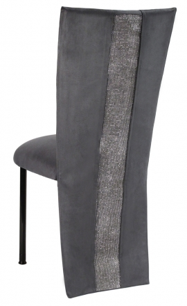 Charcoal Suede Jacket with Rhinestone Center and Cushion on Black Legs (1)
