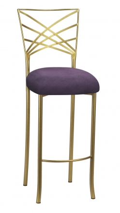 Gold Fanfare Barstool with Lilac Suede Cushion (2)