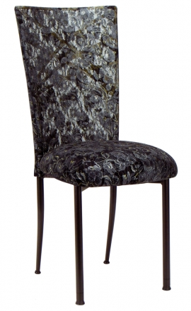 Two Tone Gold Fanfare with Black Lace Chair Cover and Black Lace over Black Stretch Knit Cushion (2)