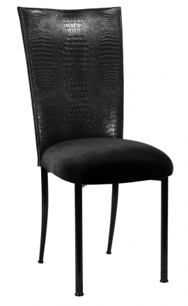 Black Croc Chair Cover with Black Velvet Cushion on Black Legs (2)