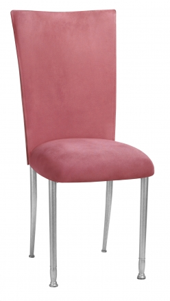 Raspberry Suede Chair Cover and Cushion on Silver Legs (2)