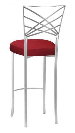 Silver Fanfare Barstool with Red Rhino Suede Boxed Cushion (1)