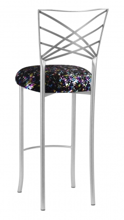 Silver Fanfare Barstool with Black Paint Splatter Knit Cushion (1)