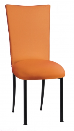Chloe Tangerine Stretch Knit Chair Cover and Cushion on Black Legs (2)