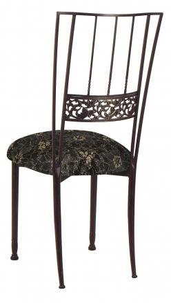 Mahogany Bella Fleur with Black Lace and Gold and Silver Accents over Black Knit Cushion (1)