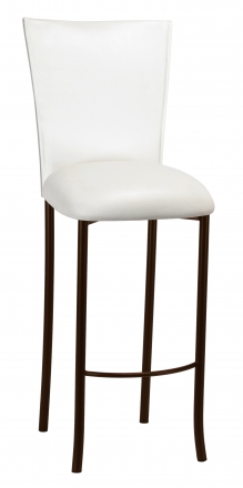 White Leatherette Barstool Cover and Cushion on Brown Legs (2)