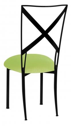 Blak. with Lime Green Velvet Cushion (1)