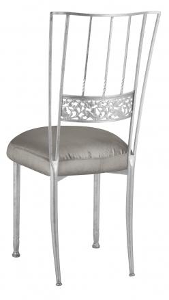 Silver Bella Fleur with Charcoal Taffeta Boxed Cushion  (1)