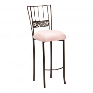 Bella Fleur Mahogany Barstool with Blush Stretch Knit Cushion (2)