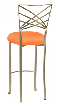 Gold Fanfare Barstool with Tangerine Stretch Knit Cushion (1)