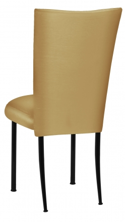 Gold Taffeta Chair Cover with Boxed Cushion on Black Legs (1)