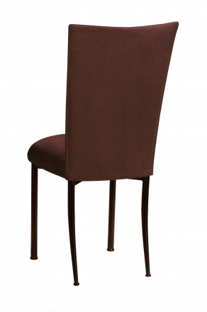 Chocolate Suede Chair Cover and Cushion on Brown Legs (1)